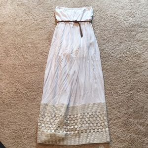 White linen maxi dress with lace bottom